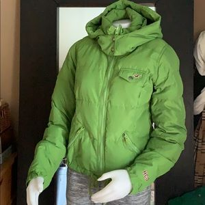 Hollister puffy Hoodie jacket feather filling sz m